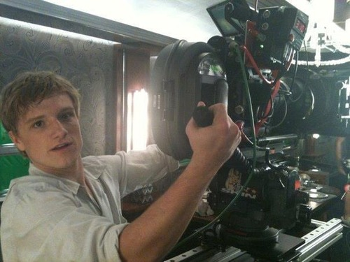 Josh Hutcherson on set