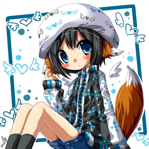 kawaii anime fondo de pantalla with anime entitled Kawaii zorro, fox Girl