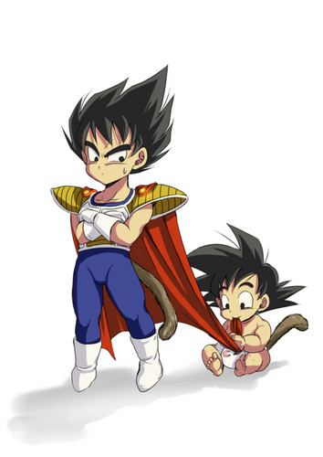 Dragon Ball Z fond d'écran with animé titled Kid Vegeta And Baby Goku