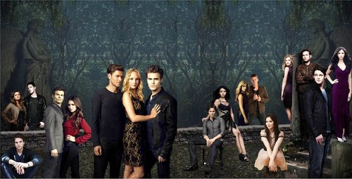 The Vampire Diaries پیپر وال possibly containing a کنسرٹ called Klefaroline + TVD cast