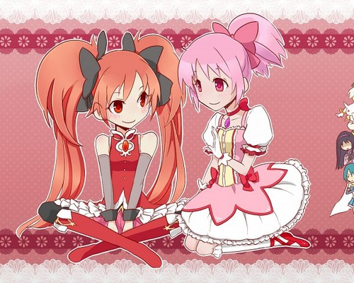 Mahou Shoujo Madoka Magica Hintergrund with Anime entitled Madoka and Kyoko hairstyles