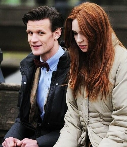 Matt Smith & Karen Gillan wallpaper possibly with a business suit titled Matt and Karen
