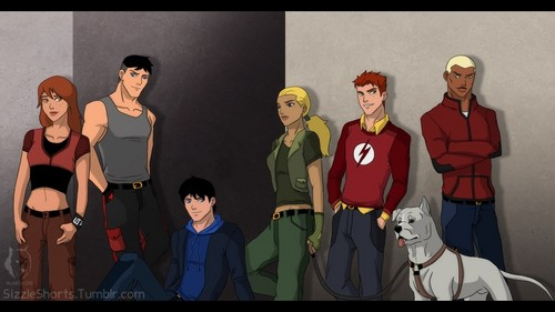 Young Justice kertas dinding called Season 1 team (casual and powerless)