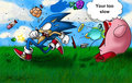 Sonic sucked up by kirby - kirby fan art