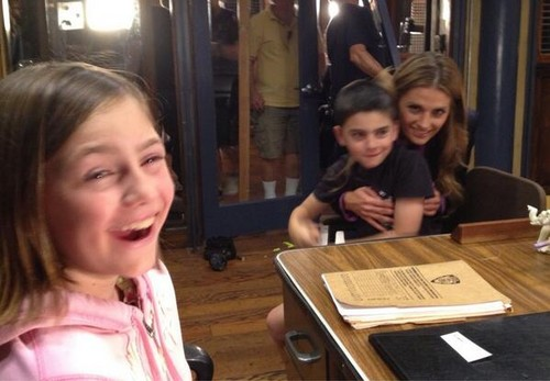 Stana on Castle Set w/ Visiting Kids