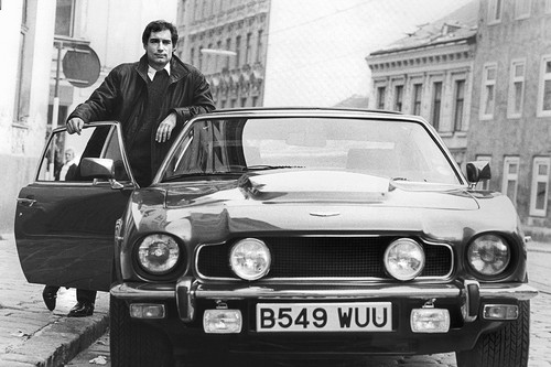 Timothy Dalton And The Vantage V8 Volante (The Living Daylights Promo Image)