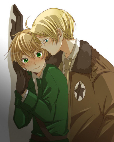 Hetalia پیپر وال probably containing a green beret کے, باریٹ called USUK