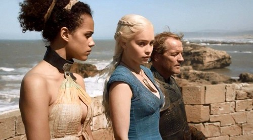 dany and jorah with missandei