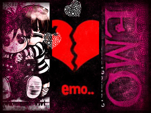 Emo wallpaper possibly with anime called love emo