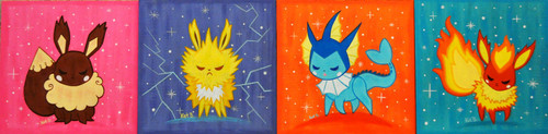 Eevee Evolutions Clan hình nền probably containing a sign entitled original eeveelutions