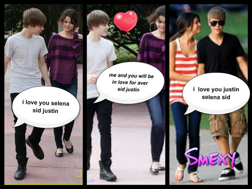 Justin Bieber and Selena Gomez wallpaper titled selena and justin
