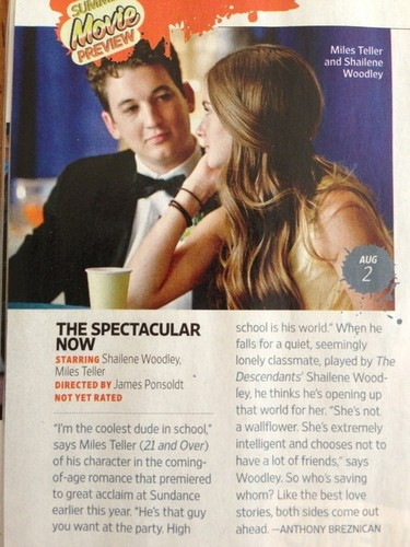 """The Spectacular Now"" in Entertainment Weekly Magazine [April 2013]"