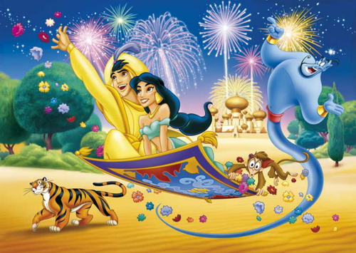 Aladdin and Jasmine wallpaper probably containing anime entitled Aladdin and Jasmine