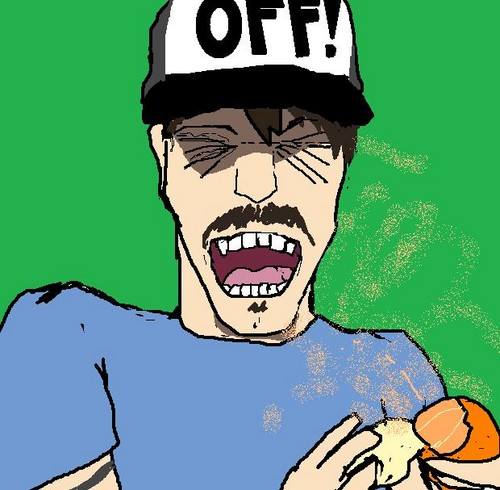 Red Hot Chili Peppers wallpaper containing anime called Anthony peeling a tangerine