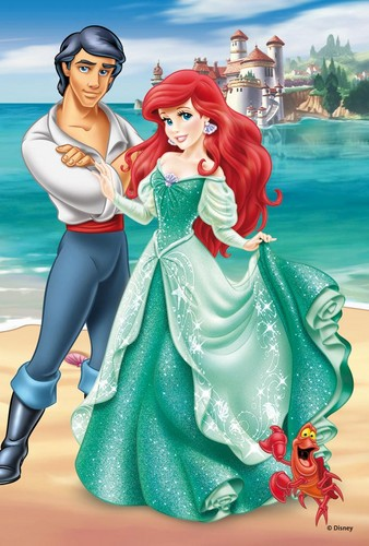 the little mermaid wallpaper possibly containing a makan malam dress, a bridesmaid, and a bouquet titled Ariel and Eric