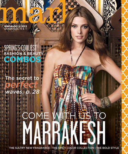 Ashley Greene wallpaper possibly with a sign and a cocktail dress titled Ashley on the cover of the new mark. magalog [#5]