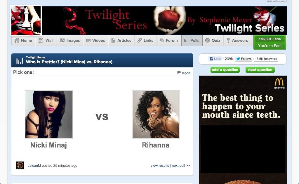 "Because Rihanna and Nicki Minaj were both in ""Twilight"""