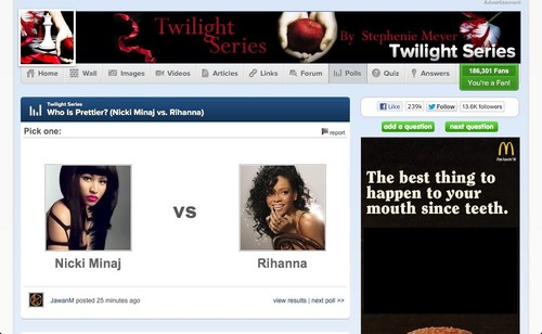 "Because 蕾哈娜 and Nicki Minaj were both in ""Twilight"""