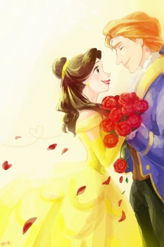Disney's Couples Обои containing a bouquet called Belle and Adam