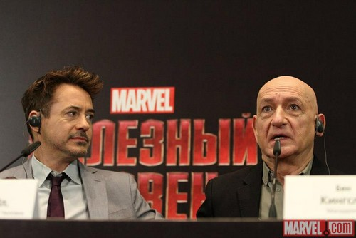 "Ben Kingsley and Robert Downey, Jr. in Moscow on the ""Iron Man 3"" World Tour"