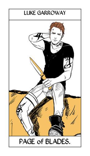 Cassandra Jean's Tarot Cards: Luke Garroway {Page of Blades}.