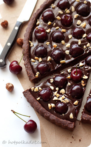 chocolate Hazelnut cereza, cerezo Tart