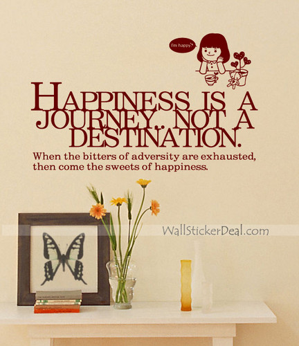 Happiness Is A Journey Quotes Wall Sticker