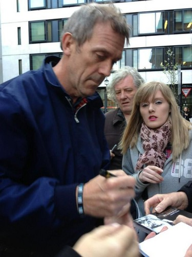 Hugh Laurie Signing Autographs before Simon Mayo Interview @BBC 17.04.2013
