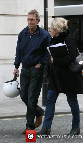 Hugh Laurie seen arriving at Radio 2 for the Simon Mayo show. - London, United Kingdom -17.04.2013