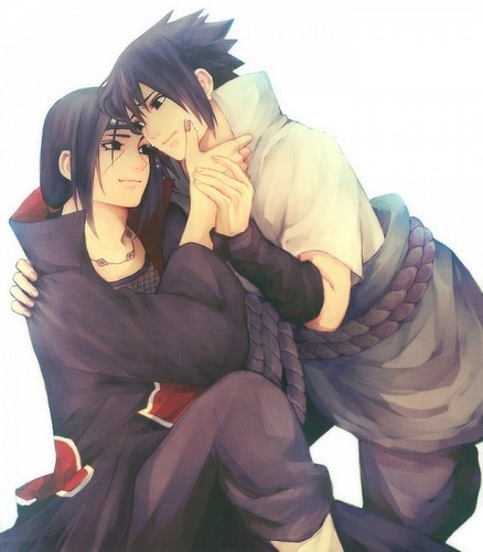 Itachi Uchiha wallpaper possibly containing a hood, an outerwear, and a well dressed person entitled Itachi and Sasuke Uchiwa/Uchiha