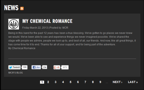 My Chemical Romance Hintergrund called MCR broke up