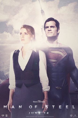 Superman Hintergrund possibly with a sign and a well dressed person titled Man of Steel (Fan-Made) Poster
