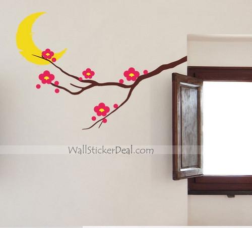 Moon And ciruela, ciruelo flor muro Stickers