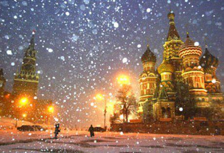 Winter wallpaper possibly with a palace and a chateau called Moscow Russia (St. Basil) etc.