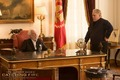 New official 'Catching Fire' still of President Snow & Plutarch - the-hunger-games photo
