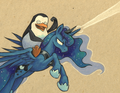 Private and Princess Luna - penguins-of-madagascar fan art