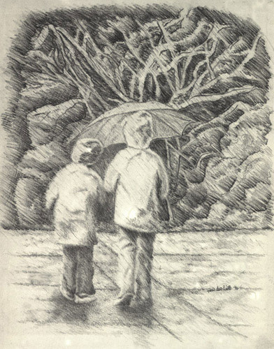 Drawing 壁紙 containing a 通り, ストリート titled Rainy 日