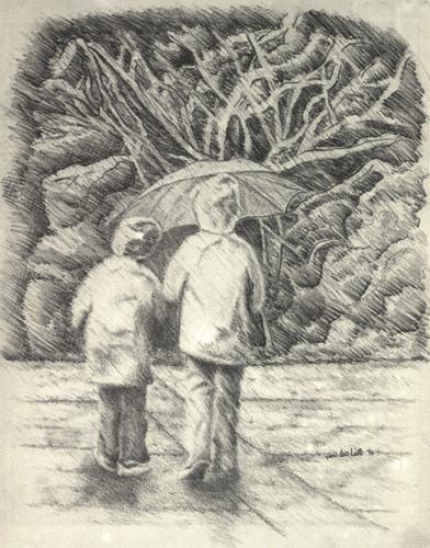 Drawing 壁紙 with a 通り, ストリート entitled Rainy 日