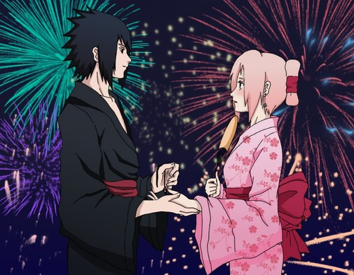 naruto shippuden wallpaper probably with animê called Sakura and Sasuke