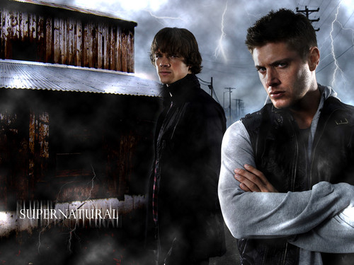 Supernatural wallpaper possibly containing a fire and a sign titled Sam and Dean