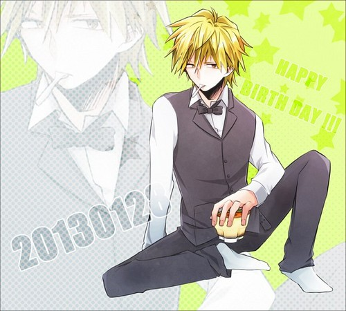 Heiwajima Shizuo Hintergrund probably with a business suit, a well dressed person, and a sign called Shizu-chan <3