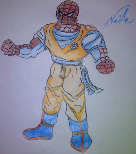 Spiderman in Goku's outfit