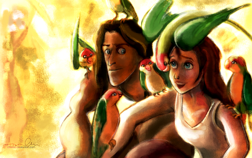 Disney's Couples Обои with Аниме entitled Tarzan and Jane