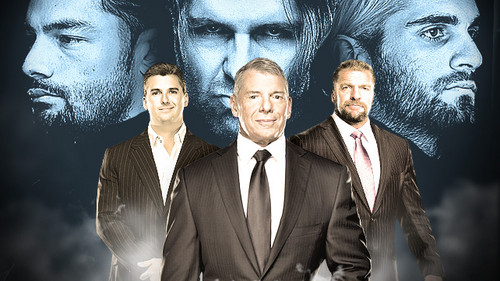 The Shield (WWE) wallpaper containing a business suit, a suit, and a double breasted suit titled The Shield vs Shane McMahon,Vince McMahon,Triple H