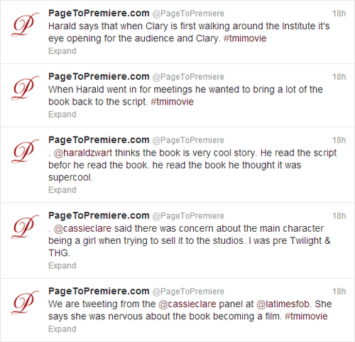 Tweets from the TMI panel at the LA Times Festival of کتابیں [Movie Hints!]