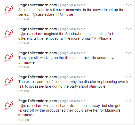Tweets from the TMI panel at the LA Times Festival of sách [Movie Hints!]