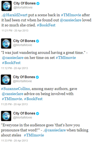 Tweets from the TMI panel at the LA Times Festival of Books [Movie Hints!]