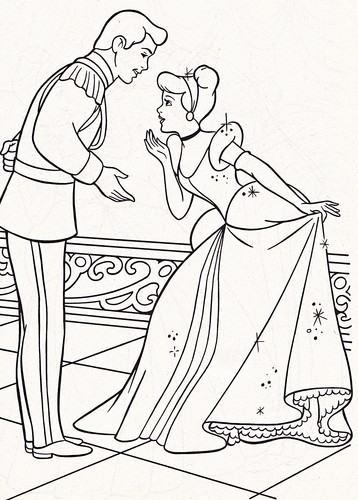 Walt Disney Coloring Pages - Prince Charming & Princess Cinderella