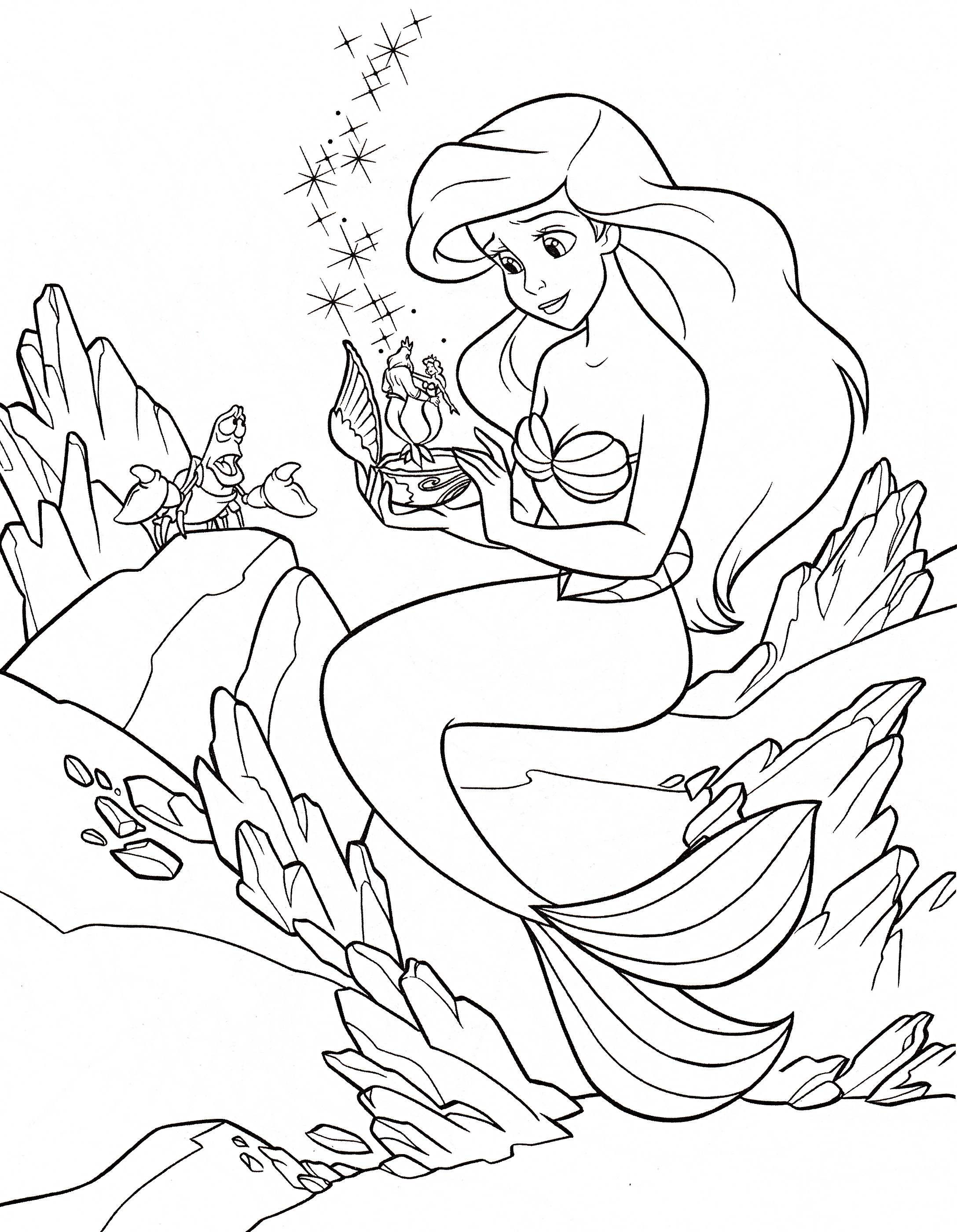 Walt Disney Coloring Pages - Sebastian & Princess Ariel