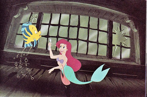 Walt Дисней Production Cels - камбала & Princess Ariel